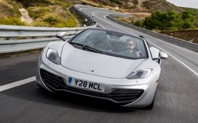 Картинка дорога, серый, фон, McLaren, суперкар, Spyder, MP4-12C