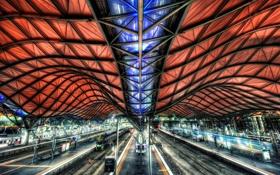 Обои крыша, путь, конструкция, вокзал, платформа