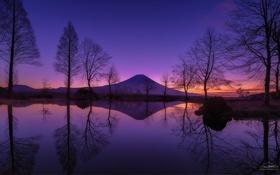 Обои Япония, Фудзи, отражение, небо, гора