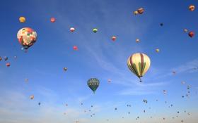 Картинка небо, облака, полет, воздушный шар, цвет, парад, Balloon Classic