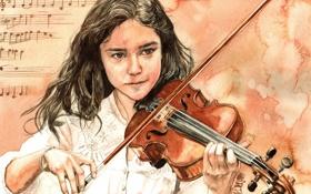 Обои девушка, ноты, скрипка, арт, смычок