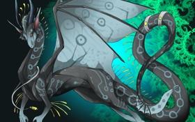 Обои узоры, арт, фон, крылья, хвост, взгляд, дракон