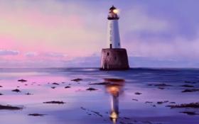 Картинка море, вода, отражение, мусор, маяк, арт, мель