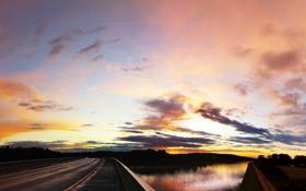 Обои Закат, Солнце, Небо, Облака, Дорога, Пейзаж