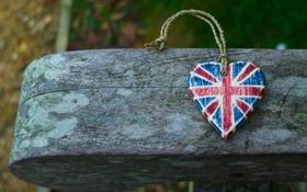 Обои дерево, сердце, флаг, сердечко, британский