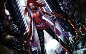 Обои девушка, оружие, магия, череп, меч, шлем, корсет