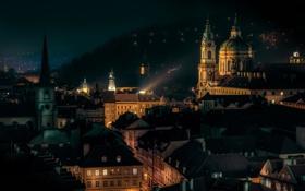 Обои ночь, огни, Прага, старый город, церковь Св. Николая