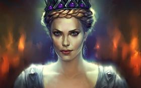 Обои серьги, корона, платье, арт, Шарлиз Терон, королева, Snow White and the Huntsman