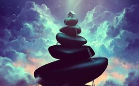 Обои облака, ночь, дом, камни, арт, лестницы, дымок