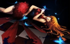 Картинка девушка, бабочки, аниме, арт, лежит, udonnodu