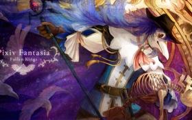 Картинка птицы, шляпа, маска, скелет, Парень