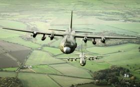 Обои ландшафт, самолёты, Hercules, военно-транспортные, C-130K