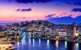 Картинка море, пейзаж, горы, ночь, мост, огни, река