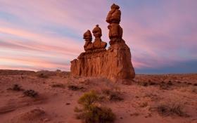 Картинка sunset, rocks, sand, Three Sisters, Goblin State Park