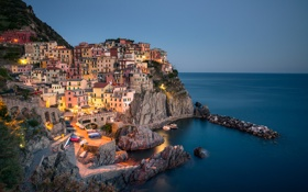 Обои Лигурийское море, Manarola, Чинкве-Терре, скалы, здания, Cinque Terre, Манарола