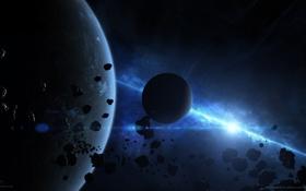 Картинка звезда, планета, свечение, астероиды, спутники