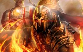 Обои огонь, молот, арт, шлем, Prometheus, God of Flame