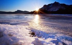 Обои зима, небо, солнце, горы, река, лёд, весна