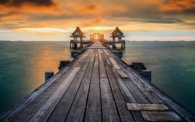 Картинка morning, sunrise, thailand, phuket, pier, Wooded bridge, pattaya