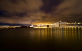 Картинка ночь, мост, огни, Калифорния, залив, Сан-Франциско, USA