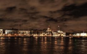 Картинка осень, ночь, река, Russia, набережная, питер, санкт-петербург