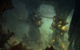 Картинка город, огни, туман, арт, пещера, гоблины, орки