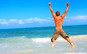 Картинка море, волны, облака, прыжок, спина, позитив, прибой