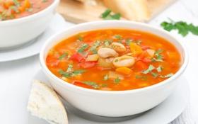 Картинка зелень, еда, хлеб, суп, овощи, обед, фасоль