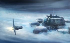 Картинка облака, снег, корабль, станция, арт