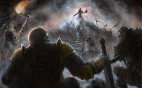 Обои арт, лестница, маг, факел, битва, diablo III