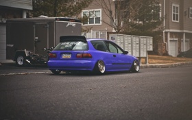 Обои улица, Purple, Honda Civic, цивик, stance. хонда