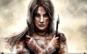 Обои Lara Croft, девушка, кровь, грязь, лицо, стрелы, арт