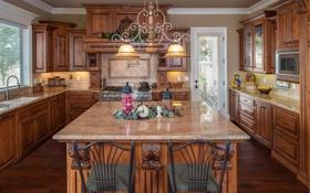 Обои дизайн, кухня, декор, дерево, люстра, мебель, стиль