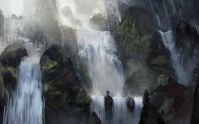 Картинка камни, люди, водопад, арт