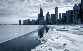 Картинка зима, снег, город, река, небоскребы, Чикаго, Иллиноис