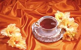Обои цветы, оранжевый, чай, шелк, атлас