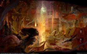 Картинка девушка, город, дома, призрак, солдаты, Китай, журавли