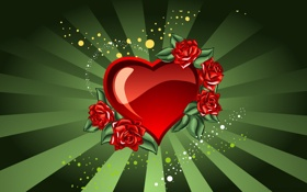Обои love, St. Valentine, розы, любовь, сердце, арт, день святого валентина