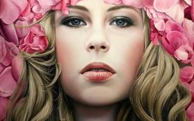 Картинка девушка, цветы, лицо, арт, розовые, локоны, Christiane Vleugels