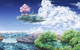 Картинка вода, облака, город, озеро, дерево, водопад, сакура
