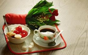 Обои кофе, завтрак, банан, ландыши, cup, coffee, творог