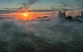 Картинка солнце, туман, утро, Река