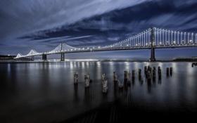 Обои небо, мост, огни, порт, Калифорния, залив, Сан-Франциско