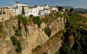 Картинка город, скала, фото, дома, Испания, Ronda