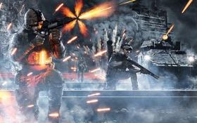 Картинка взрыв, война, здание, солдаты, танк, war, Battlefield 3