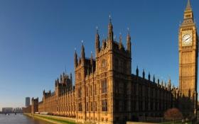 Обои мост, река, здание, часы, Лондон, башня, Парламент