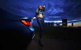 Картинка BMW, Girl, Car, Legs, Sexy, Auto, Model