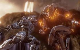 Обои рендеринг, оружие, монстр, Halo, броня, боец, схватка
