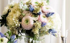 Обои цветы, фото, букет, гортензия, люпин, лютик