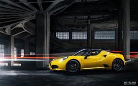 Обои Cars, Alfa, Romeo, Yellow, Sport, Spider, 2015